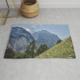Silberhorn Mountains And Glacier. 3.695meters. Lauterbrunnen Valley. Alps. Switzerland Rug
