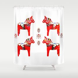 Swedish Dala Horses Shower Curtain