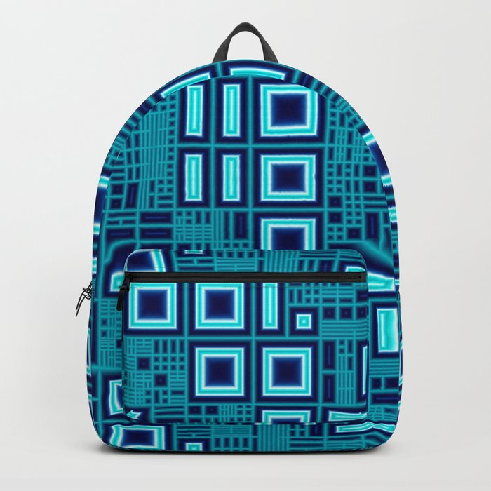 Blue digital geometric abstraction Backpack