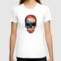 puerto rico T-shirts featuring Dark Skull with Flag of Puerto Rico by Jeff Bartels