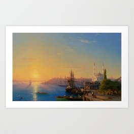 View of Constantinople and the Bosphorus Landscape Masterpiece by Ivan Aivazovsky Art Print