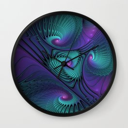 Purple Meets Turquoise, Fractals Art Wall Clock