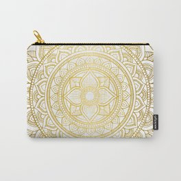 Hand Drawn Gold Bali Mandala Carry-All Pouch
