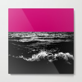 Black Wave w/Hot Pink Horizon Metal Print