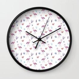 Aquatic & Flamingo Watercolour Pattern Wall Clock