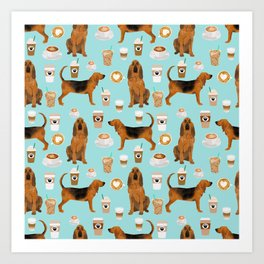 Bloodhound coffee dog pattern dog breed custom gifts for dog lovers bloodhounds Art Print