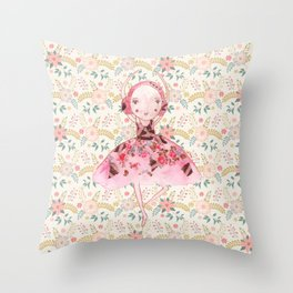 Isabella Bellarina Dancing in Flowers Throw Pillow