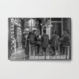 Market Cafe B&W Metal Print