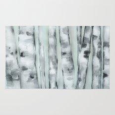 Birch trees in winter Rug