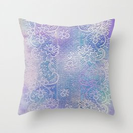 soft lace runner in blues Throw Pillow