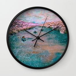 cherry blossom sojourn (detail)_katallie Wall Clock