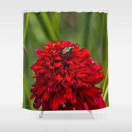 Red Flower And Beetle Shower Curtain