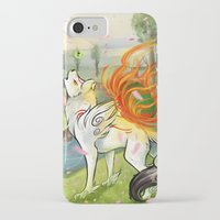 okami iPhone & iPod Cases featuring Okami Amaterasu by Keshi