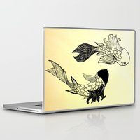 ying yang Laptop & iPad Skins featuring Ying Yang fish by Mollybaggy
