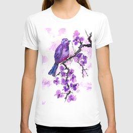 Purple Bird and Blossoms T-shirt