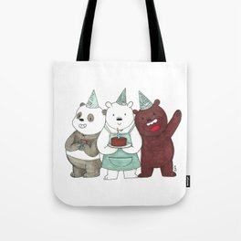We Bare Bears inspired Birthday Party - Panda, Ice Bear, Grizzly Bear Tote Bag