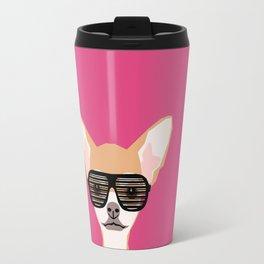 Misha with Glasses - Aviator glasses, hipster glasses, chihuahua, dog, cute, pet, cute dog Travel Mug