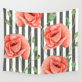 Red Poppies Grey stripes Wall Tapestry