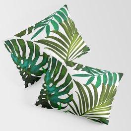 Tropical Dream, Jungle Nature Botanical Monstera Palm Leaves Illustration, Scandinavian Painting Pillow Sham