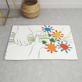 Picasso le bouquet colorful floral positive wall art, anti war print, room decor, picasso Rug