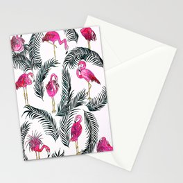 Flamingoes on White Stationery Cards