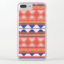 Mix and Match Multi Pattern Blue and Orange Design Clear iPhone Case