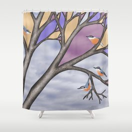 red breasted nuthatches in the stained glass tree Shower Curtain