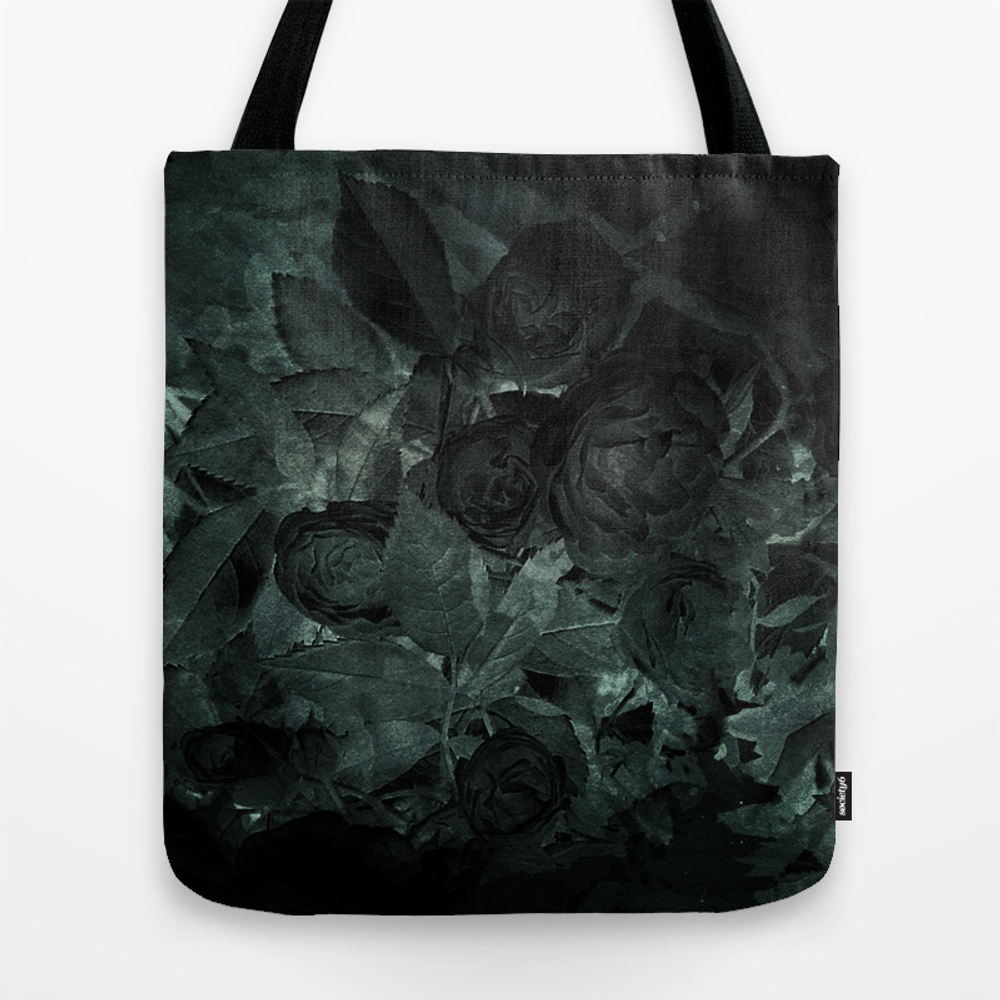 Watercolor Roses Green Tote Purse by Castlefielddesign (TBG9726388) photo