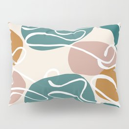 Pattern paint pastel boho beige green abstract Pillow Sham