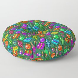 Tie Dye Holiday Ornaments Floor Pillow