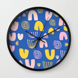 Abstract Shapes Pattern in Blue Wall Clock