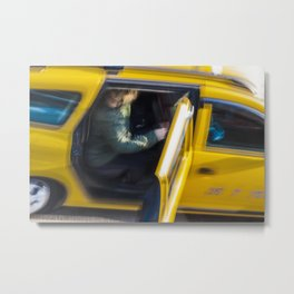 Taxi passenger's coming out Metal Print