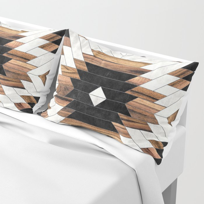 Urban Tribal Pattern No.5 - Aztec - Concrete and Wood Kissenbezug
