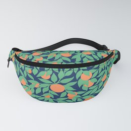 Oranges and Leaves Pattern - Navy Blue Fanny Pack