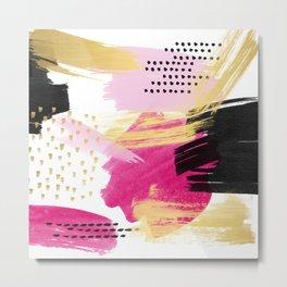 Modern pink black gold abstract geometric shapes brushstrokes pattern Metal Print