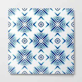 Shibori Blue Watercolour No.15 Metal Print