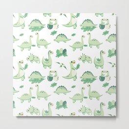 Dinosaur Mini - Green Metal Print