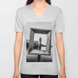 Medieval Collioure Church | Notre-Dame-des-Anges Mediterranean Coast France Black and White Unisex V-Neck