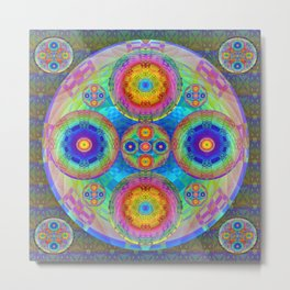 Wild Neon Orb Mandala Metal Print