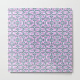 Turquoise Lasso Cowgirl Pink and Green Arrowhead Cowgirl Dreams Abstract Southwestern Design Pattern Metal Print