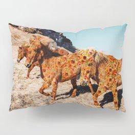 Wild Horses On Flowers Pillow Sham