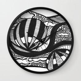 Hot Air Ballon Drawing Black and White Wall Clock
