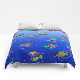 Bright Tropical Fish Comforters
