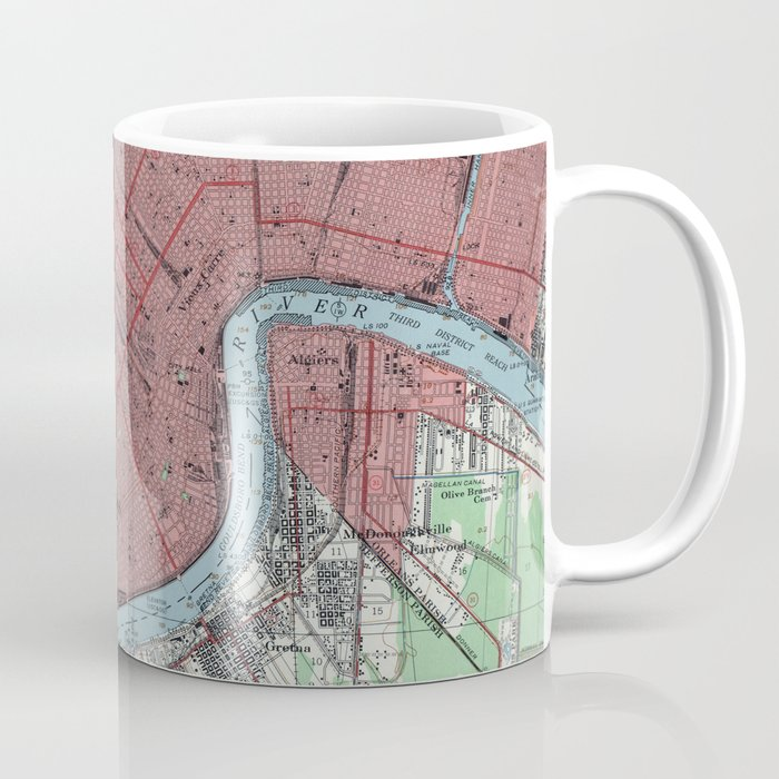 Vintage Map of New Orleans Louisiana (1954) Coffee Mug