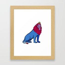 Blue Lion Sitting Wearing Tiara Crown Etching Framed Art Print