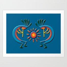 Southwest Kokopelli with Sun Turquoise Kunstdrucke