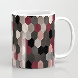 Hexagon Pattern In Gray and Burgundy Autumn Colors Coffee Mug