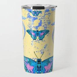 ORNATE BLUE BUTTERFLIES SCROLL DESIGNS  ART Travel Mug