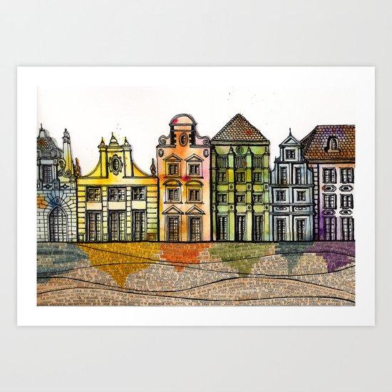 Renkli Kent Art Print