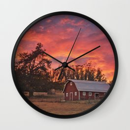 Barn Sunset Wall Clock